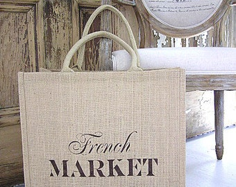 Large Reusable Jute Burlap French Market Shopping Tote Bag