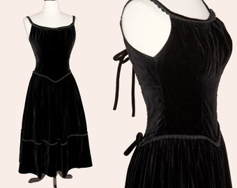 Vintage 50s Dress / 50s Black Velvet Cocktail Dress / 50s Party Dress