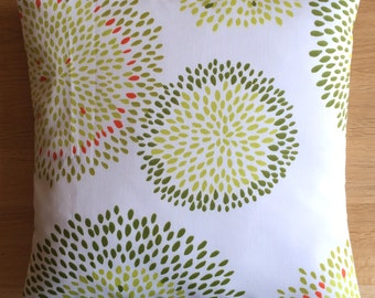 """16"""" x 16"""" cushion cover - green and orange leafy flowers on off-white"""