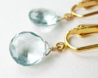 Pale Aqua Teardrop Clip-on Earrings, Light Blue Quartz Faceted Drop Clip Earrings, Gold Ear Clips, Heart Briolettes, Handmade, Morris Gold