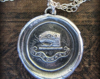 Perseverance and Determination Wax Seal Pendant Necklace - a Reminder to Always Move Forward - E2280