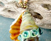 SUNSET SHELL HelensHarvest Lampwork Silver Glass Seashell Bead Beaded Handmade Necklace
