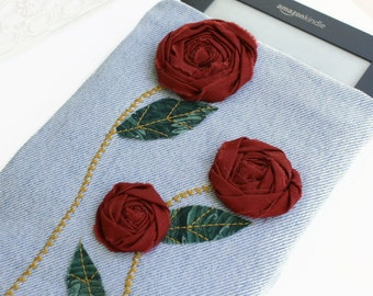 Kindle Sleeve Padded Repurposed Jeans with American Beauty Roses