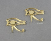 2 Eye of horus laser cut acrylic cabochons necklace charms (mirror gold) by diyordie