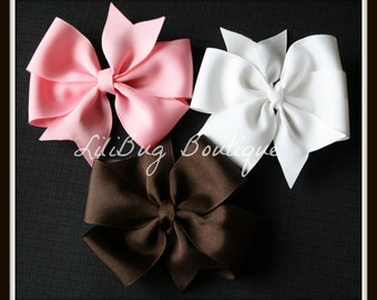 LiliBug Trio Hair Bow Set - Pink White Brown- Ready To Ship