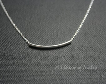 Simple, tiny, sterling silver necklace with sterling tube bead