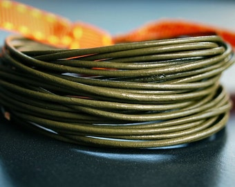 1mm Round Leather Cord Dark Olive : 15 Feet