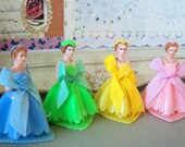 Plastic Bridesmaids / Cupcake Toppers / Set of Four / Yellow-Green-Pink and Light Blue / Vintage / Kitsch