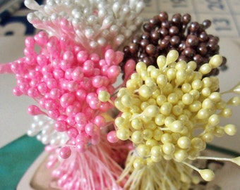 Sale.  Vintage / Double-Ended Stamen Pips-Peps Flower Centers / Set of Four / Bunches / Pearlized Anther Heads