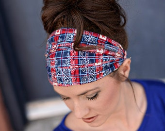 Wide Fabric Headband, Womens Headband, Womens Head Band, Headbands for Women, Extra Wide Headband, Red White & Blue Headbands, Adults