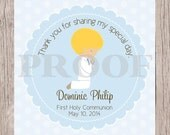 PRINTABLE First Holy Communion Favor Tags in Powder Blue / Print Your Own Personalized Stickers for First Holy Communion / Choose Hair Color