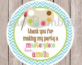 Art Party Favor Tags or Stickers / Painting, Pottery, Crafts and More / with Chevron / Set of 12