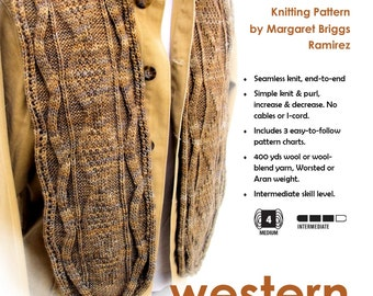 Scarf Knitting Pattern - Western Diamondback Scarf - Instant Download PDF Pattern to Knit