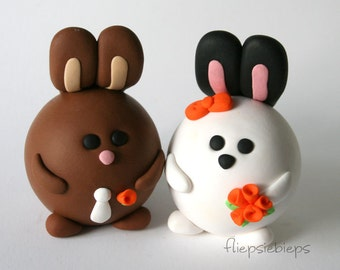 Custom Bunny Rabbit Wedding Cake Topper (brown)
