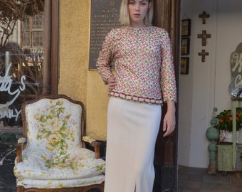 1960s beaded sweater and skirt 60s maxi dress size medium Vintage evening ensemble ivory wool