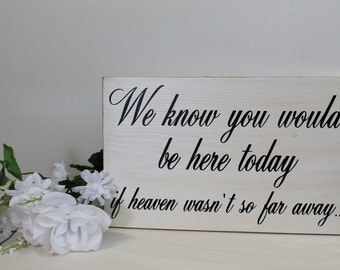Rustic Wedding Sign Memorial We know you would be Here Today if Heaven Wasn't so Far Away  Memory Country style weddings