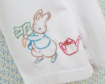 Peter Rabbit In The Garden- Beatrix Potter Hand Embroidered Overalls - Made To Order Any Size