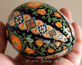Made To Order Peach Floral Pysanka Ukrainian Easter Egg Pysanky by SoJeo Batik Art EBSQ Plus