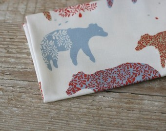 Bear Day Fabric - Blue and Red - Half Yard