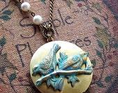 Verdigris Bird Locket Steampunk Locket Necklace, Photo Locket, Bird Keepsake locket Necklace, Vintage Locket Pendant -4046