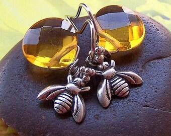 Bee Earrings – Antiqued Silver, Honey Bee Charm Earrings, Animal jewelry, Topaz Quartz Stone, Yellow Stone Jewelry- A-13