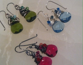 Colorful Swarovski Gem Drop Earrings