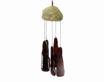 Ruby Red Wind Chime with Driftwood, Red Glass Windchime