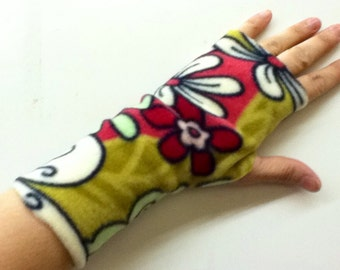 Fingerless Texting Gloves - Fleece Hand Warmers - Funky Floral Print