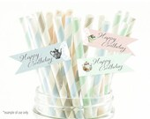 Birthday tea party straw/cupcake flags  - Digital PDF Flags for Download and Print