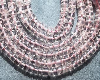 Half Strand, Rose Quartz Plain Heishi Rondelle Beads, 4x2MM