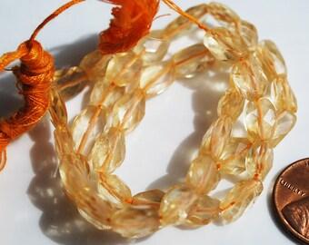 Half / Full Strand, Citrine Faceted Oval Beads, 9-8MM