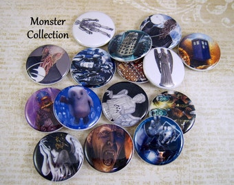 "1"" Dr. Who Inspired Pins, 12 Ct. Monster Collection"