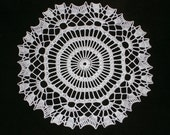 "New Handmade Crocheted ""Estival Fair"" Doily in Silver - 10"""