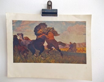 Wild Horses on the Mongolian Steppe, Vintage Mid Century Art Print of Russian Painting, Stallions Fighting, Wilderness Mountain Landscape