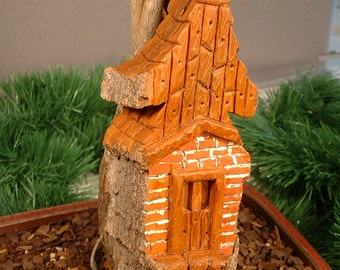 Woodland art carving of rustic home  from cottonwood bark,whimsical folk art wall/shelf home decor