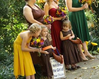 MISMATCHED bridesmaids Infinity dresses CUSTOM sizes   earthtones taupe brown hunter orange gold emerald yellow marsala wine dark red rust