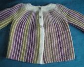"""Handknitted handspun striped baby jacket 22"""" chest"""