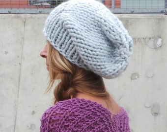gray hat, Silver hat,  silver beanie hat, slouchy hat