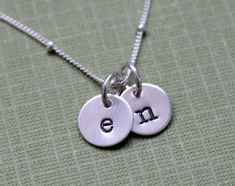 Two Tiny Initials Necklace; Letter Necklace in Sterling Silver