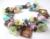 Pastel Floral Charm Bracelet Vintage Inspired