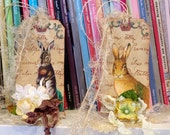 Shabby Primitive Easter Rabbit Gift Tags