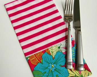 Oahu Tropical Cloth Napkin Set / reversible napkins / beach house / Hawaiian resort style / hot pink and turquoise / striped cloth napkins