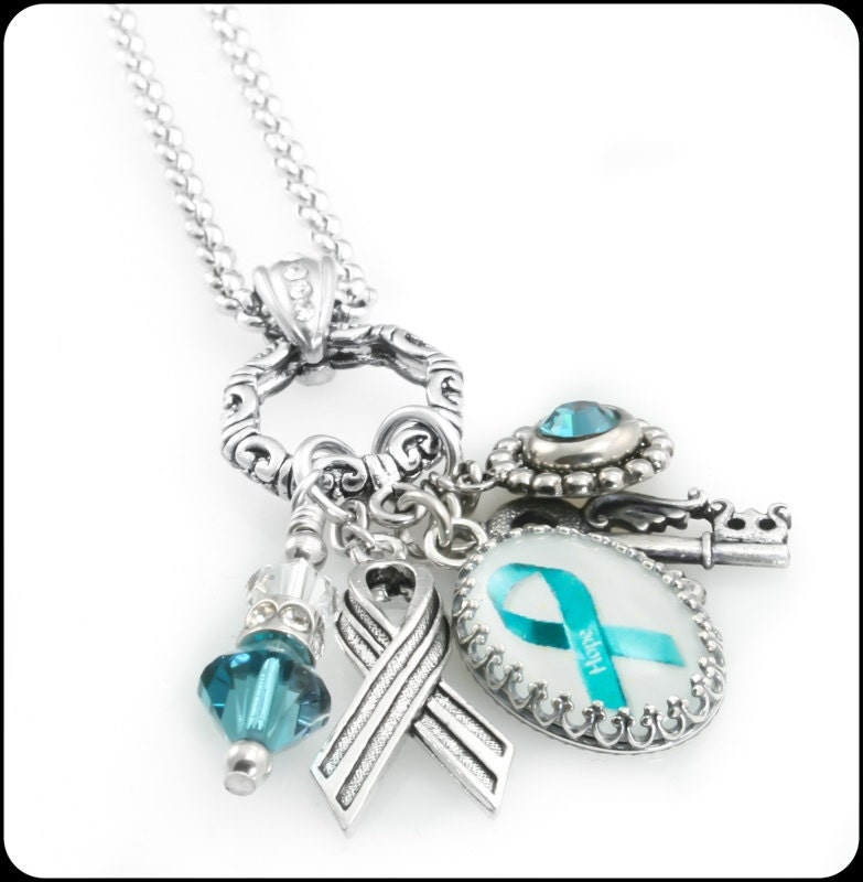 Ovarian Cancer Awareness Charm Necklace By Blackberrydesigns