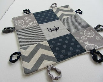 Personalized Baby Boy Lovey with Custom Hand Embroidered Name or Initial ~Navy Grey Beige ~ Choice of Backing Fabric ~Birds Chevron Stripes