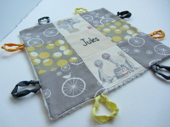 Personalized Baby Lovey with Hand Embroidered Name or initial ~ Choice of Backing Fabric ~ Gender Neutral ~ Grey Yellow ~ Birds Elephant Dot