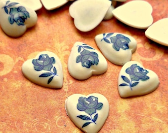 24 Vintage Plastic Cabochons 10x11mm Heart Shaped with Blue Flower Cabs (49-13F-24)