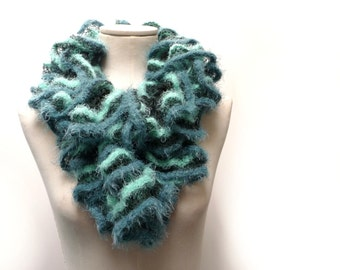Knit Ruffle Scarf - Fuzzy Chunky Scarflette - Mint Green and Teal shades - Romantic, Boho Neckwarmer