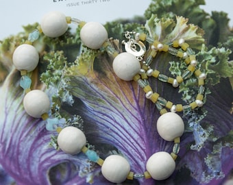 Beaded freshwater pearls and porcelain necklace / FIRRIE // ooak / sterling silver