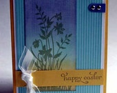 Greeting Card - Happy Easter Faux Linen Floral Silhouette Handmade in Yellow Aqua Blue Lavender Purple Green
