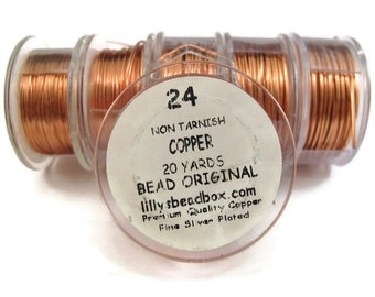 Copper Wire - 24 Gauge Wire for Making Jewelry, Non Tarnish Wire, Wire Wrapping Supplies, Genuine Copper Wire
